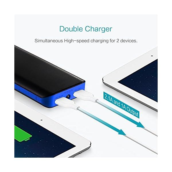 FKANT Powerbank 25000mAh Batteria Portatile Carica Veloce Caricabatterie Portatile Power Bank 2 Porte USB con Torcia a… 5 spesavip