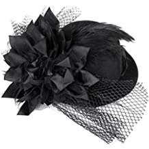Capelli Clip Signore Pixnor donna fiore Decor piuma Fascinator Burlesque  Punk Mini Top Hat - unica 533f9141713f