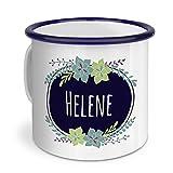 printplanet - Emaille-Tasse mit Namen Helene - Metallbecher mit Design Flowers - Nostalgie-Becher, Camping-Tasse, Blechtasse, Farbe Blau, 400ml