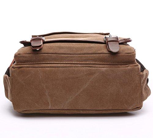 BAOSHA BP-28 Vintage Canvas Rucksack Damen Herren Notebook Laptop Rucksäcke Retro Schulrucksack Backpack Daypack für Uni, Wandern, Outdoor Sport, freizeit, Einkaufen mit der großen Kapazität kaffee