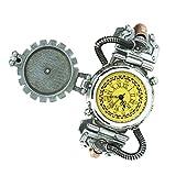 Sharplace Orologio Steampunk al Quarzo in Lega di Zinco Ornamento Gotico da Uomo - Giallo 2