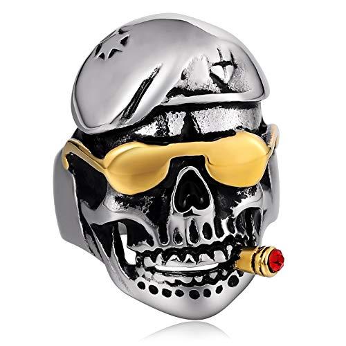 Beglie Edelstahlring für Herren Ringe Männer Rauchen Schädel Totenkopf Witn Sonnenbrille Bandring Breit Silber 3CM Herrenring Gothic Größe 62 (19.7)