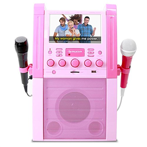 Auna Karaoke Komplett-Set mit Dockingstation • USB-Port • Farbdisplay • integrierte Lautsprecher • Mikrofon • CD/DVD-Player • A.V.C-Funktion • rosa