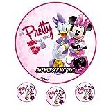 Tortenaufleger Geburtstag Tortenbild Zuckerbild Oblate Motiv: Disney Minnie Maus 17 (Oblatenpapier)