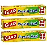 3 x GLAD Press'N Seal Seal Multi Purpose Wrap Cling Film / Product of USA