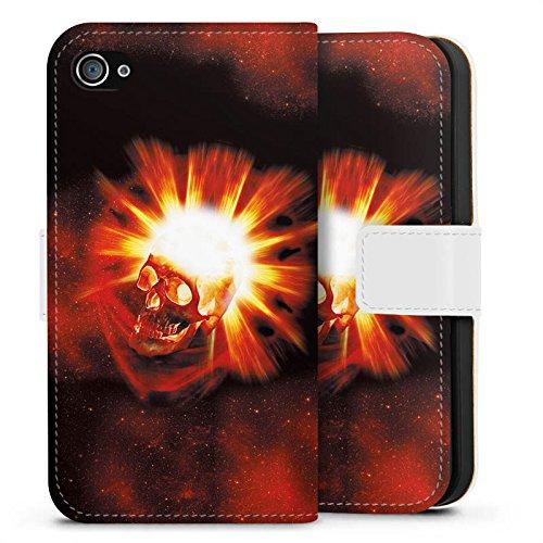 Apple iPhone X Silikon Hülle Case Schutzhülle Totenkopf Schädel Licht Sideflip Tasche weiß