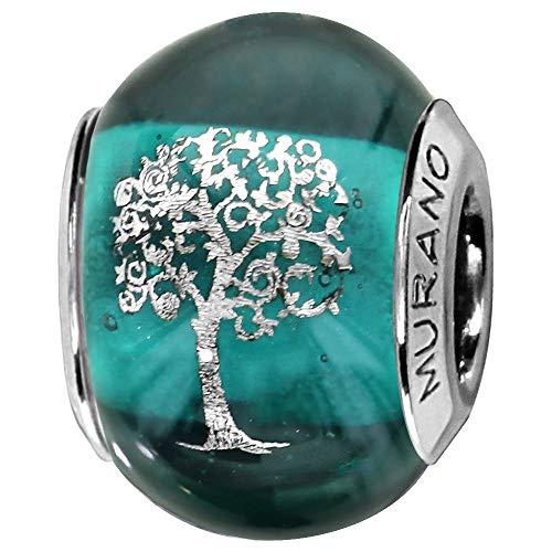 So Chic Joyas© Charm cristal de Murano verde árbol de la vida plata 925-Compatible con Pandora, Biagi, Chamilia, Biagi