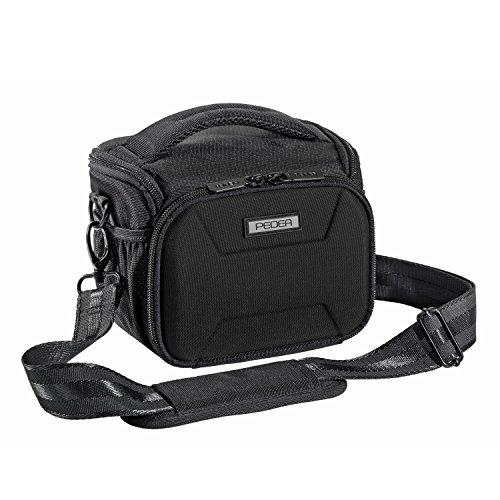"""PEDEA SLR-Kameratasche """"Guard"""" Schultertasche Messenger Kameratasche Umhängetasche Kamera Tasche mit Regenschutz, Tragegurt und Zubehörfächern  Größe: L, schwarz"""