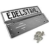 L&P A199-2-46 2 Kennzeichenhalter für kurze Kennzeichen 46cm in Edelstahl poliert - 100% EDELSTAHL - auch passend für gebogenen Stosstangen- INOX C.4580 460mm