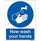 Now Wash Your Hands Sign Safety Sticker (15x20cm) self-adhesive vinyl