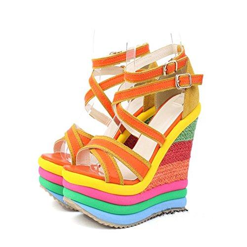 LvYuan Frauen-Sommer-Sandalen / Büro & Karriere / Sexy Ultra High Heel / Wasserdichte Plattform / Wedge Ferse / Regenbogen Farbe / Gürtelschnalle / böhmische nationale Art Orange