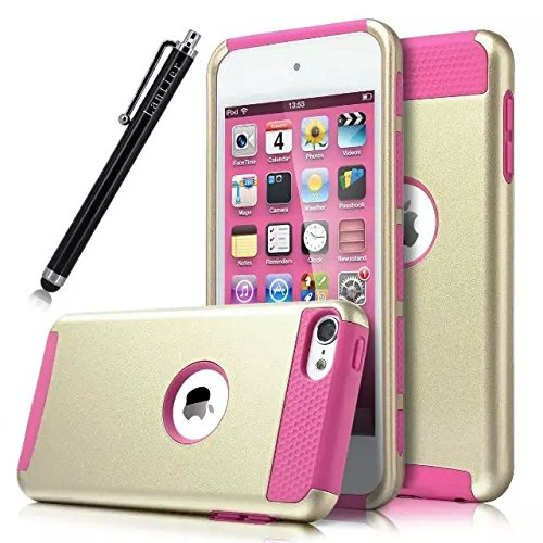 iPod Touch 6 Fall , iPod Touch 5 Fall, Lantier iTouch 6 Fall iTouch 5 Gehäuse Hybrid Dual Layer Shockproof Tasche für Apple iPod Touch 6 / iPod Touch 5 6. Generation mit Stylus (Gold / Pink)