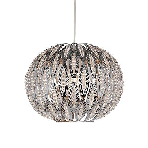 LED Pendelleuchte Modern Chrom Metall Blatt Design Easy Fit Deckenleuchte Schatten Schlafzimmer -