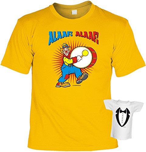 Alaaf! lässiger Look Gelb. Faschings/Karnevals/Spaß/Fun/Party-Shirt+ Mini-Shirt  Rubrik lustige