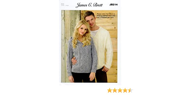 b038592e55170 James Brett Knitting Pattern Instructions for Ladies Hooded Jumper Mens V  Neck Sweater in Rustic Aran JB214  Amazon.co.uk  Kitchen   Home