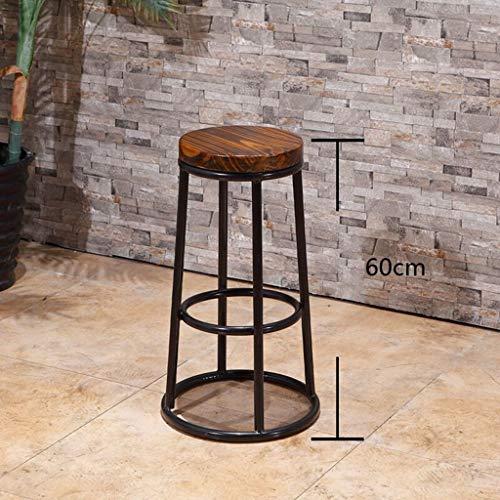 MOM Stuhl Hocker - Barstuhl Hoher Hocker Barhocker Rezeption Stuhl Massivholz Retro Eisen Kunst Einfache Bar Balkon Erwachsenenheim Hocker,60 cm