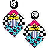 Moda Joyería Chicas Grande Acrílico Multicolor Geo Patrón Studs Aretes por Mujer