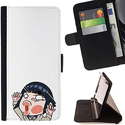 Momo Phone Case / Protettiva Custodia Flip Wallet in pelle - Brunette Cartoon Girl Illustration - Motorola Moto E ( 2nd Generation ) - Brunette Girl