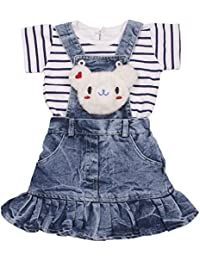 Indian Evergreen Jeans Denim Baby Girls Birthday Party wear dangree daungree dangri Dress Age Group 6 Months to 4 Years