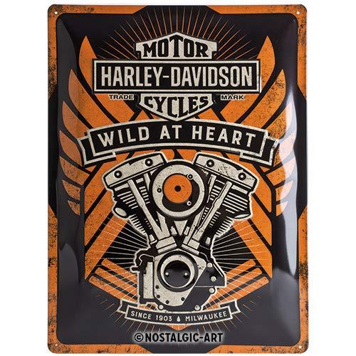 Nostalgic-Art 23222 Harley-Davidson - Wild At Heart, Blechschild 30x40 cm (Teile Harley Motor)