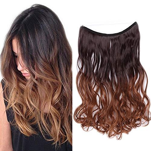 Extension con filo invisibile capelli lunghi mossi [castano scuro mix marrone cioccolato] 50cm 20