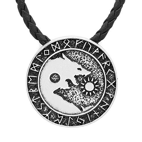 GuoShuang Heide nordisch Amulett Groß Kette Männer Nordisch Wikinger Runes Amulett Wolf Für Halskette