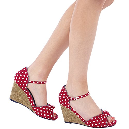 Ruby Shoo MOLLY Vintage Polka DOTS Punkte 50s Riemchen WEDGES / Pumps Rockabilly -