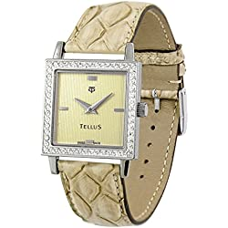 Tellus - Vintage - Luxury Women's watch with gold dial, beige strap in Genuine python, Swiss Made - T5067DI-111
