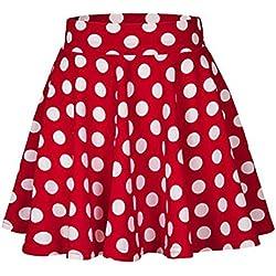 QinMM Falda cóctel Estampado a Lunares para Mujer, Falda Mini Fiesta Alta Cintura Vestir (M, Rojo)