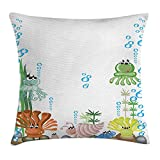 NGDUTZ Jellyfish Decor Throw Pillow Cushion Cover, Aquarium with Seashell Octopus Stones Bubbles Funny Cartoon Print, Decorative Square Accent Pillow Case, 18 X 18 inches, Blue Green Yellow