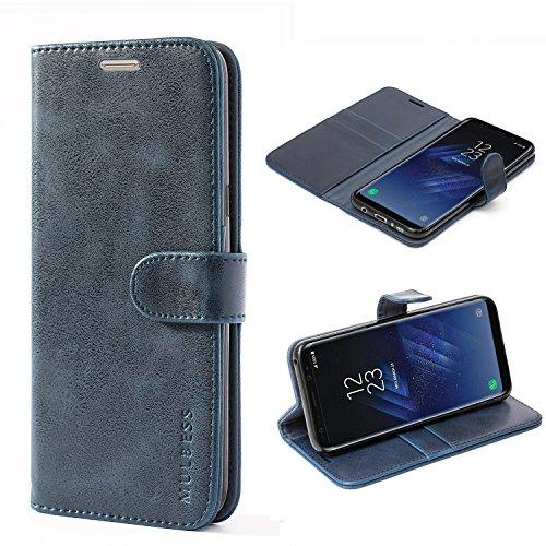 Mulbess Ledertasche im Ständer Book Case / Kartenfach für Samsung Galaxy S8 Plus Tasche Hülle Leder Etui,Dunkelblau