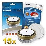 15x Nemaxx Detector de Humo M1-Mini sensibilidad fotoeléctrica - con batería de Litio Tipo DC3V - Conforme la Norma DIN EN14604 & VDS - Dorado + NX1 P