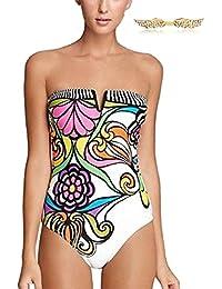 BYD Mujeres Trajes de una pieza Impresión Floral Coloridos Bañador Push Up Bandeau Bikinis Ropa de baño