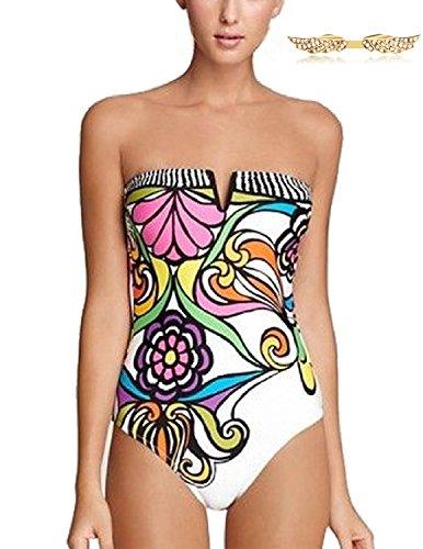 Angelwing Damen Badeanzüge Bademode mit Abstrakte Drucke Push up Blumen Neckholder Bikinis Schwimmanzug (Logo-mini-fledermaus)