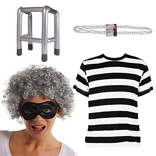 Imagen de adulto gánster abuela disfraz lujo ideal para escuela libros la semana carnaval para mujer y hombre disponible en talla s grande gb 8 18  negro/blanco, uk 16 18 alternativa
