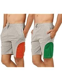 Clifton Men's Shorts MB04 Pack Of 2-Grey Melange-Rust-Grey Melange-Dark Green