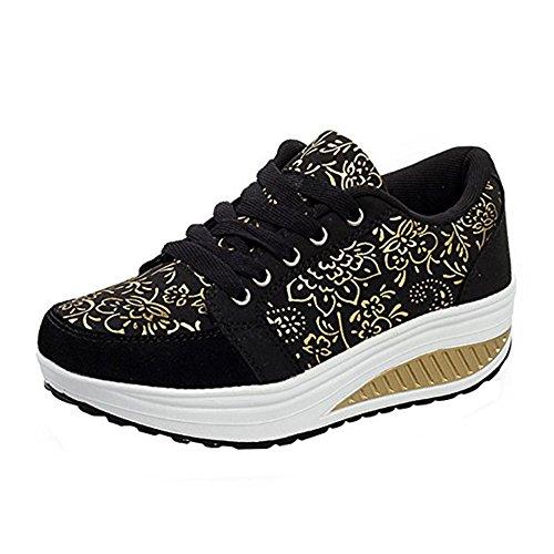 WYSBAOSHU Mujer Zapatos de Deporte Casual Correr Sneaker(38 EU/Label 39 CN,1-Negro)
