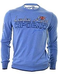 Cipo Baxx Pullover Pull cavalier élastique ras du cou slim bleu bodybuilder