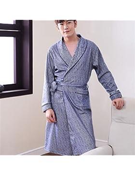 Andensoner Cómodo Pijama de camisón de Manga Larga de algodón para Hombres
