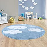 Taracarpet Kinder Teppich für Das Kinderzimmer Bueno Hochwertig mit Konturenschnitt Blau verträumte Wolken 160x160 cm rund