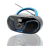 LONPOO Lettore CD portatile Boombox, con Bluetooth/Radio FM/USB/ingresso AUX/Uscita cuffie/audio stereo (D02)