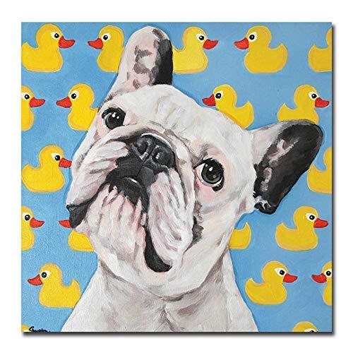 YHXIAOBAOZI Handgemaltes Ölgemälde,100% Reine Hand Bemalt Niedlichen Hund Und Ente Moderner Pop Canvas Wall Art Dekor Für Wohnzimmer Eingang Home Dekoration 80 × 80 cm -
