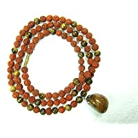 Mogul Interior MindFull Mala Beads- Rudraksha Prayer Tiger Eye Stone Healing Yoga Necklace 108+1