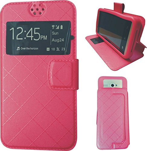 BKDT Marketing Leather finish Flip Cover Case Stand Diary Style for Karbonn A111 with Dislay Window and Stand - Pink  available at amazon for Rs.334