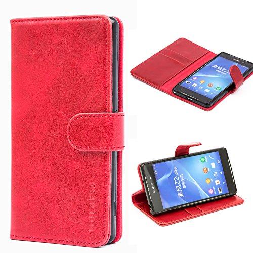 Mulbess Ledertasche im Ständer Book Case / Kartenfach für Sony Xperia Z2 Tasche Hülle Leder Etui,Wine Rot