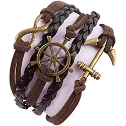 Addic Infinity Anchor Retro Multi-Style Black Leather Macho Multistrand Bracelet For Men