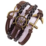 Best Bracelets  Boys - Addic Infinity Anchor Retro Multi-Style Black Leather Macho Review