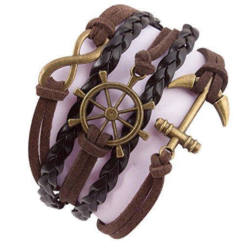 Addic-Infinity-Anchor-Retro-Multi-Style-Black-Leather-Macho-Multistrand-Bracelet-For-Men