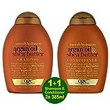 ogx® Ever Straight Brazilian Keratin Smooth SHAMPOO 385 ml + CONDITIONER/SPÜLATION 385 ml – pour un style longue durée avec cheveux bouclés et bouclés