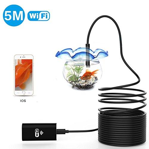 AMILE Inspektionskamera, WiFi Boroskop/Endoskop Kamera 2.0 MP Wasserdicht Schlange Kamera mit 6 verstellbarem LED-Licht für iOS, Android (Große Decken-haken)